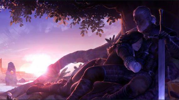 Geralt e Yennefer abraçados