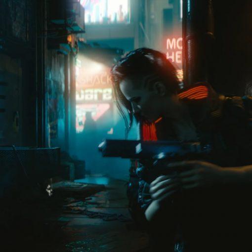 Mulher no beco no trailer cyberpunk 2077 E3 2018