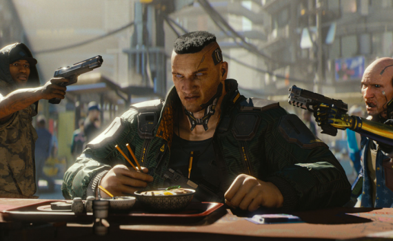Homem em Cyberpunk 2077 no trailer da E3 2018